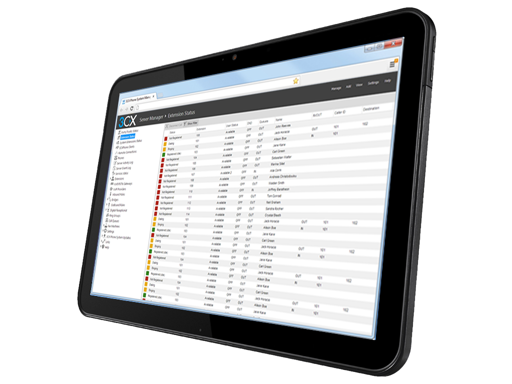 Tablet with 3CX management Console - Houston TechSys